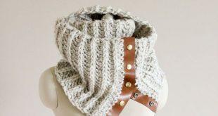 DIY: crochet leather snap scarf