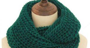 Black Loop Men's Scarf Collar Women Winter Knit O-Ring Scarf Female LIC Male...