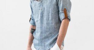 Blue men's linen shirt TURIN. Band collar linen shirt for men. Linen clothing for men.