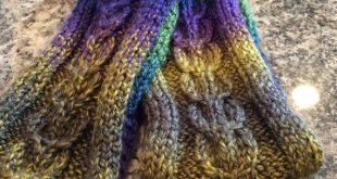 Chunky Scarf, Hand Knit in a stag horn cable pattern of jewel toned acrylic yarn. Great for Men or Women