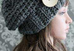 Crochet PATTERN - Crochet Button Slouchy Hat Pattern