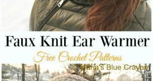 Faux Knit Ear Warmer Crochet Free Pattern - Trending Women #EarWarmer; Free #C