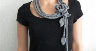 Ketten lang - Strickschal Strickkette mit Blume Merino Wolle - ein Designerstüc...