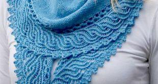 Knitting Pattern for One Skein Ho'okipa Shawl - Pretty crescent shaped shawl...