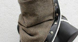 Men's scarf. Unisex cowl. Womens neckwarmer,Chunky, Extra Wide,Herringbone wool 100% brown & black,fake leather,faux lamb fur,metallic snaps