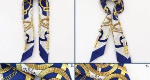 Nautical navy + cork (plus two ways to fold a silky scarf #scarves Scarf tutoria...