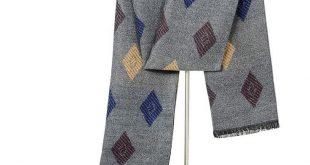 Visrover Men Scarf Casual Business Scarves Winter Wool Silk Cashmere Scarf Luxur...